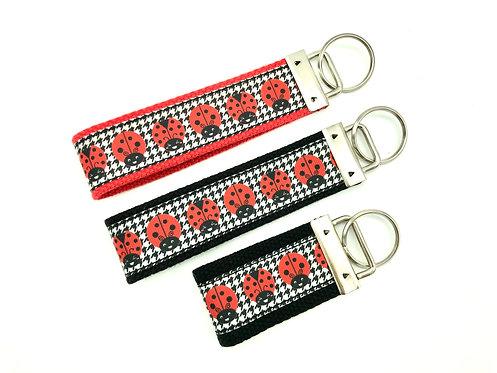 lady bug houndstooth key chain
