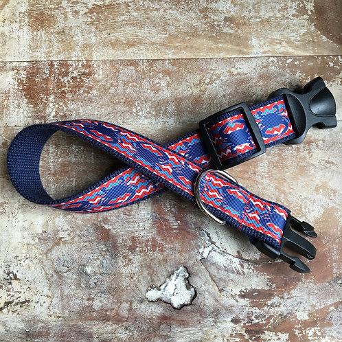 Navy Crab Chevron Dog Collar & Leash