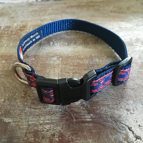 Navy Crab Chevron Dog Collar