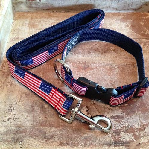 American Flag Dog Collar & Leash