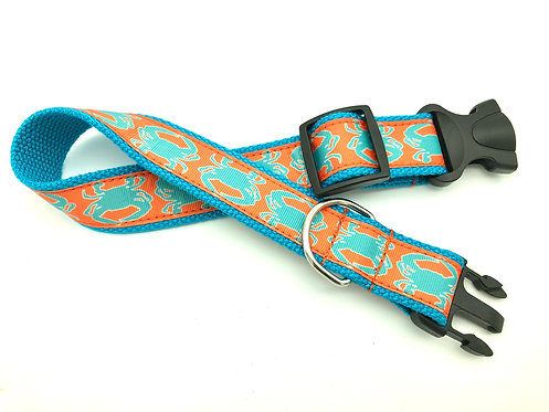 teal and orange crabby dog collar