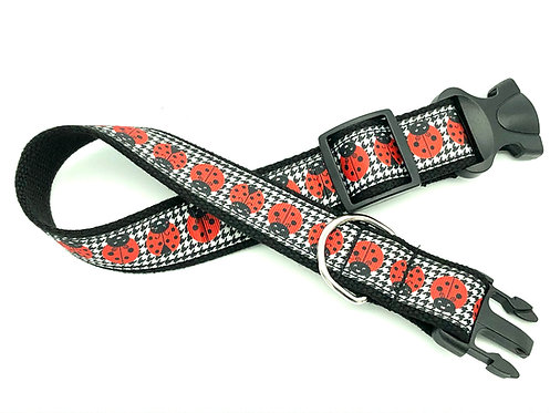 ladybugs houndstooth dog collar