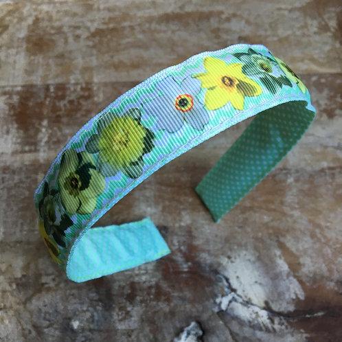 reversible Daffodil flower headband