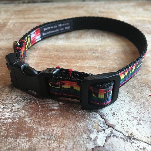 Rainbow Maryland Flag Dog Collar & Leash