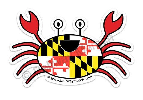Large Happy Maryland Flag Crab Sticker