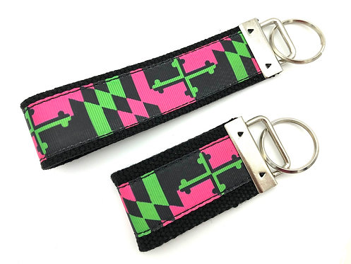 Preppy Pink Maryland Flag Key Chain