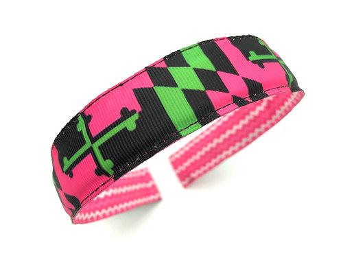 Preppy Pink Maryland Flag Headband