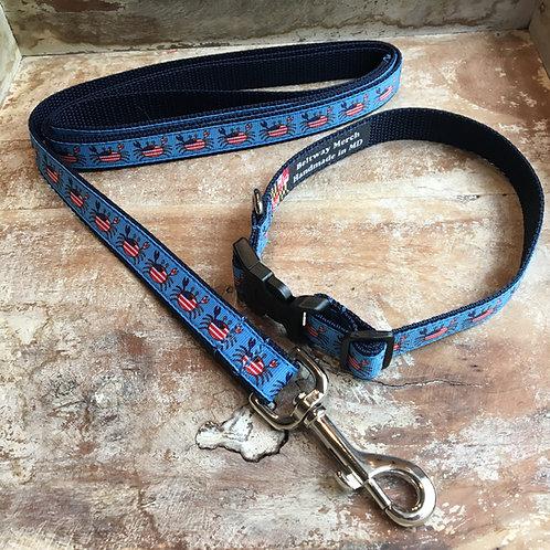 American Flag Happy Crab Dog Collar & Leash