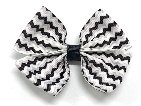 Black and White Chevron Dog Bow Tie