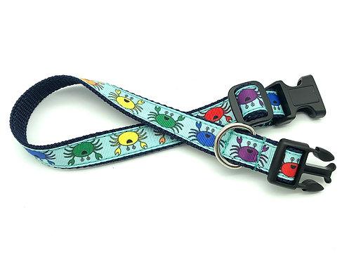 Happy Rainbow Crabs Dog Collar