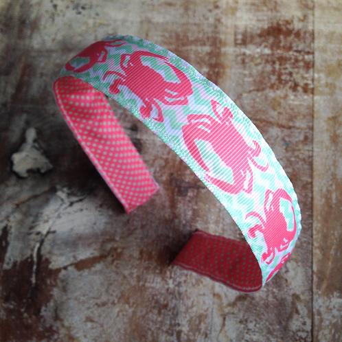 Pink Crabs Chevron Headband