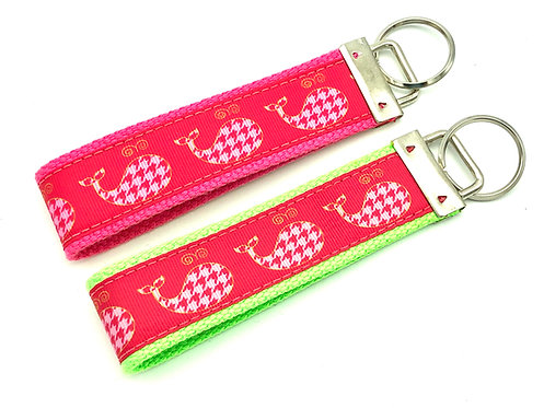 houndstooth preppy pink whale keychain