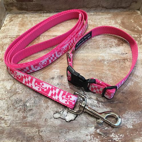 Hot Pink Maryland Flag Dog Collar & Leash