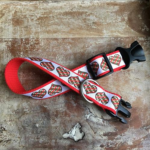 Maryland Flag Hearts Dog Collar & Leash