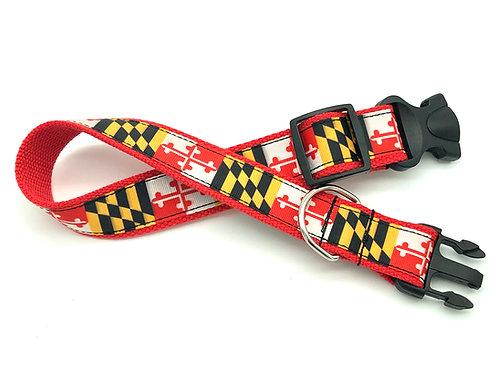 1 1/4 inch Traditional Maryland Flag Dog Collar or Leash