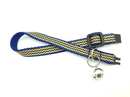 Navy & Yellow Chevron Cat Collar