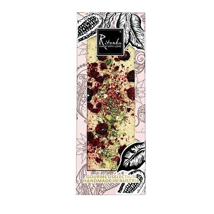 Ritonka Gourmet Selection weiße Schokolade; Kirsche, Pistazien, Blattgold