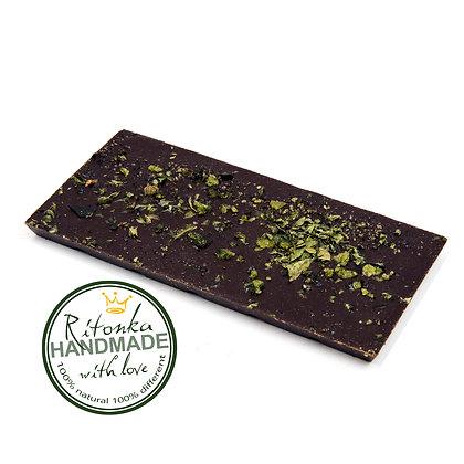 Ritonka Bitterschokolade Grüner Tee - Minzblätter