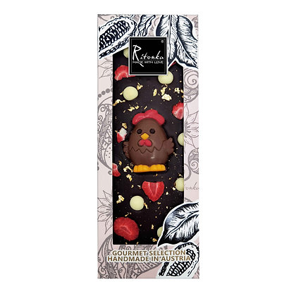 Ritonka Osternkollektion Bitterschokolade - Erdbeere, Blattgold