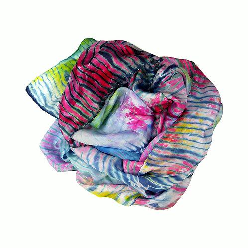 Paréo soie Zébra - teint à la main -shibori et indigo - créateur -made in france