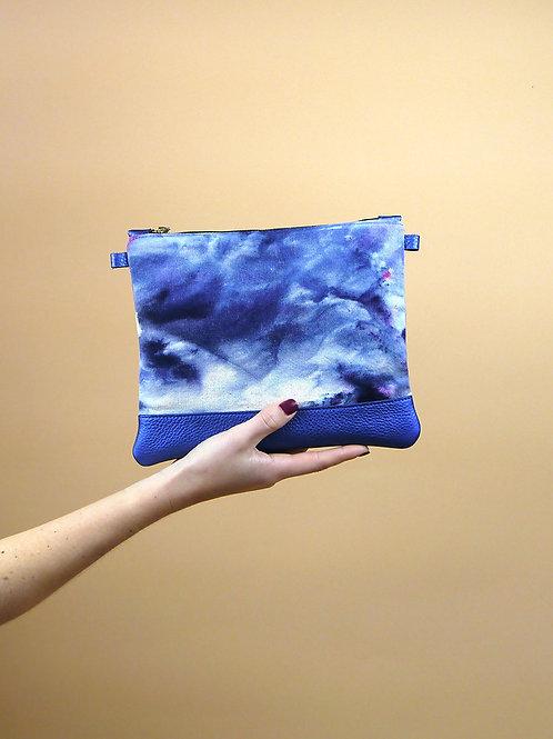 Echappée Bleue Pochette textile teints / cuir bleu n°7