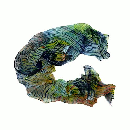 Foulard mousseline de soie Vibes - teint à la main - shibori et indigo - made in france