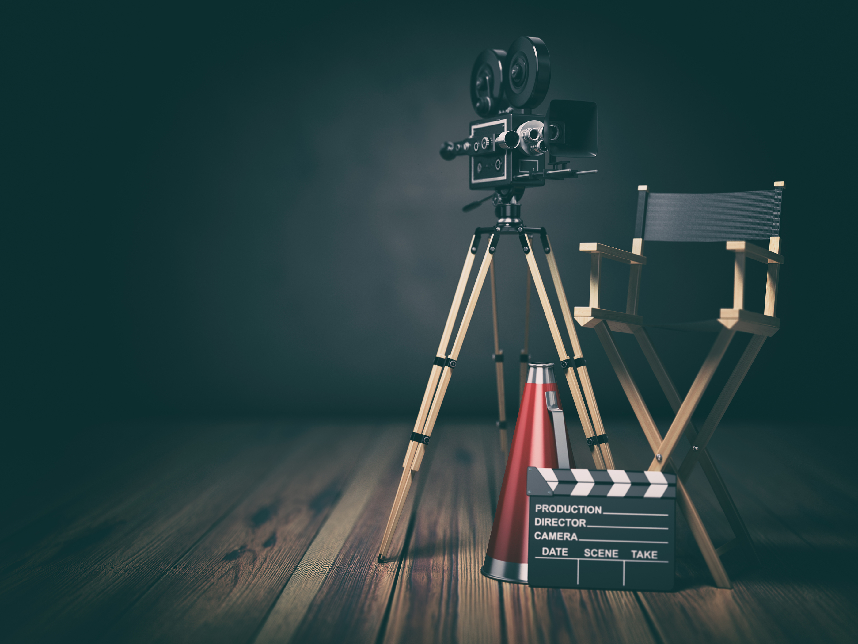 Video, movie, cinema concept. Retro camera, clapperboard and director chair. 3d illustration