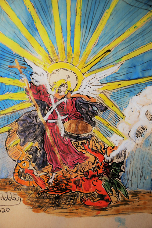 Michael Slaying Devil Watercolor