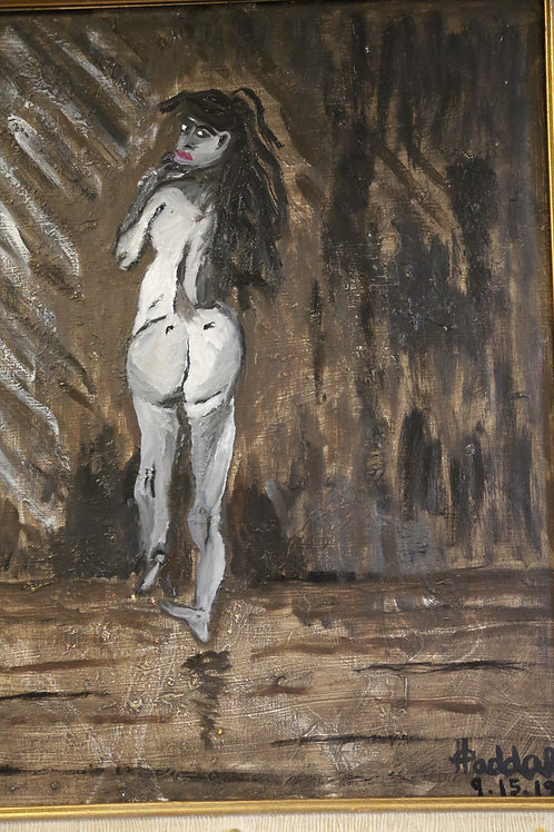 Nude Oil Study Woman against wall