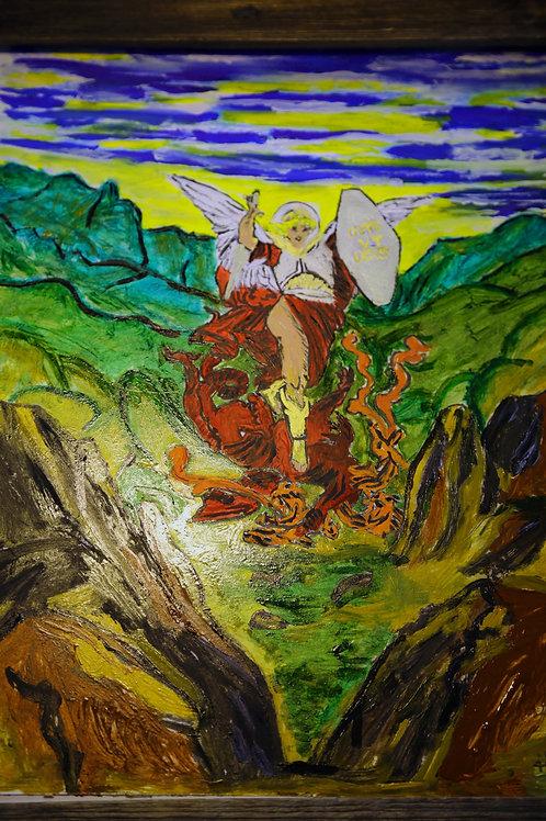Archangel Michael Slaying 5 Headed Dragon