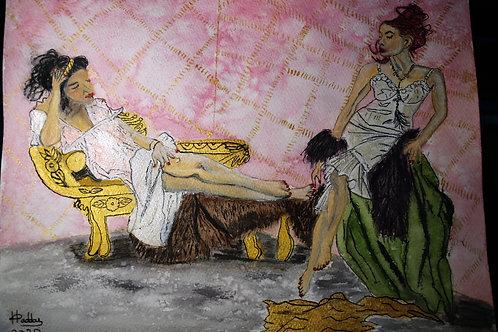 deux femmes dans la chambre à coucher