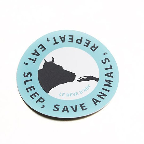 Autocollant Eat, Sleep, Save Animals, Repeat