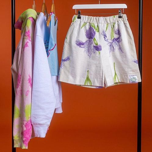 Lilac flower cotton short