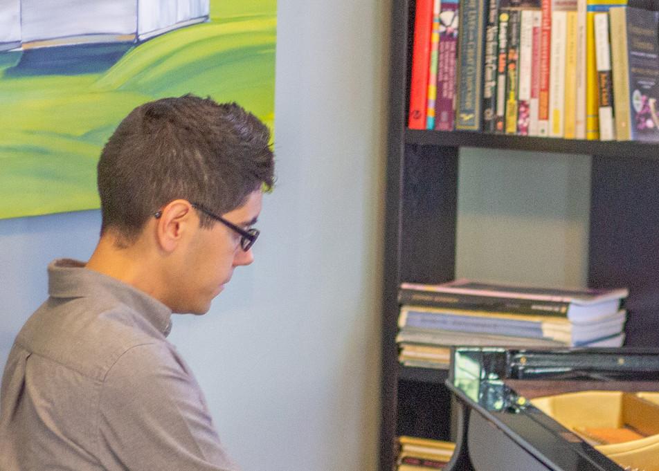 Joshua Espinoza at the piano