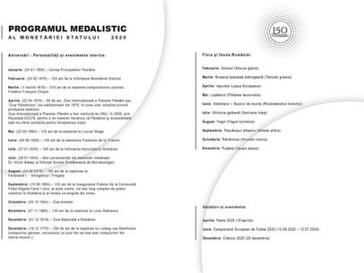 Programul medalistic al MONETĂRIEI STATULUI 2020