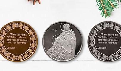 Felicitare cu medalie - Crăciun Religios 2019