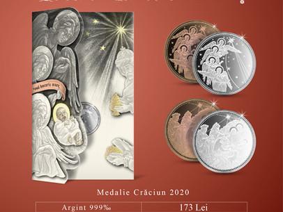 """Felicitare cu medalie, realizată în varianta religioasă - """"Crăciun 2020"""""""