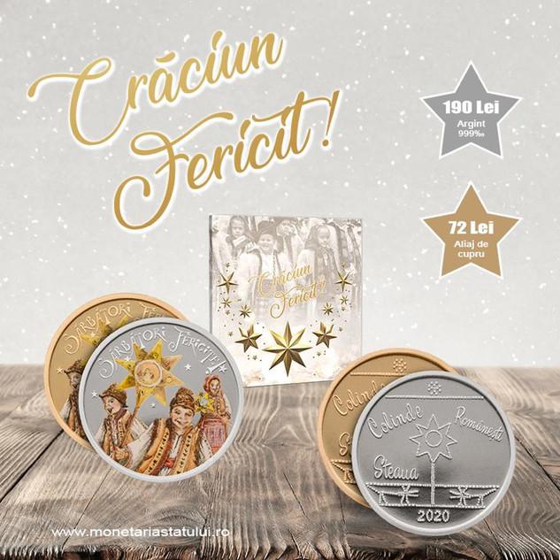 """Felicitare cu medalie realizată în varianta laică – """"Crăciun 2020"""""""