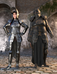 Image shows women wearing morphing armour to accommodate different shapes and sizes of figures by Moonscape Graphics.