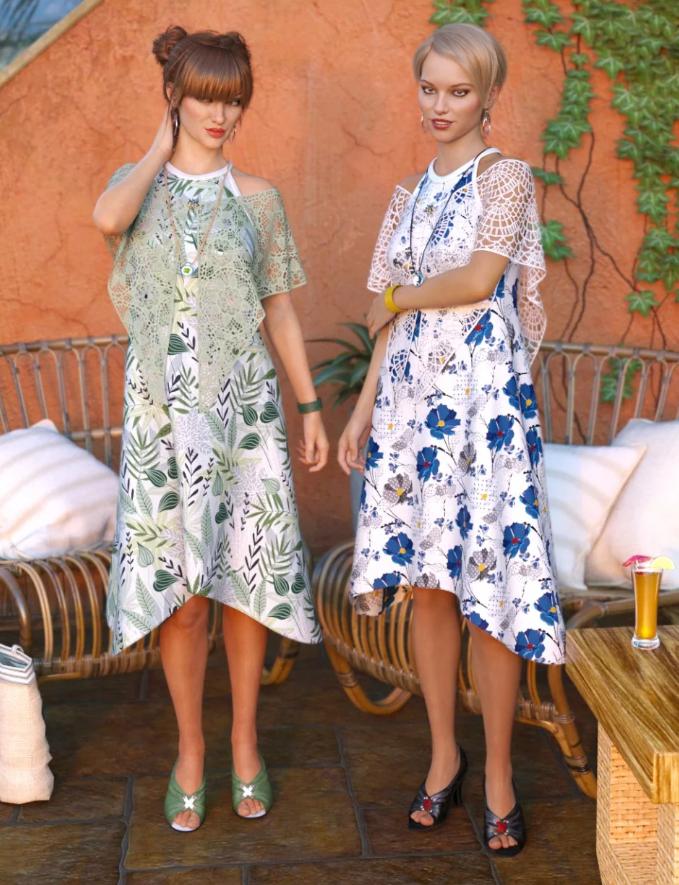 Image shows two women wearing the dForce Nuits D'été: Divine Texture Pack by Moonscape Graphics for Daz 3D.