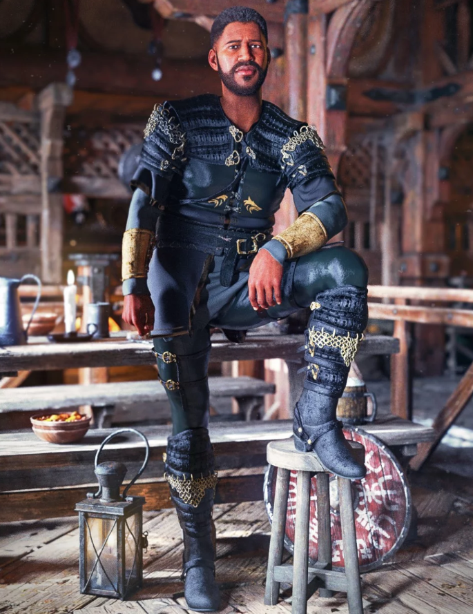 Image shows a man in armour, sitting on a medieval bench, wearing the dForce Dark Lore Outfit for Genesis 8 Male(s) from Daz3D by Moonscape Graphics.