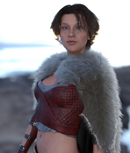 Image shows woman wearing the Classic Cape Animal Skins Textures from Moonscape Graphics from Daz3D.