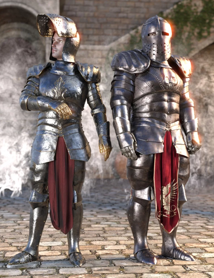 Image shows two males wearing full dForce Morphing Fantasy Armor Genesis 8 Male by Moonscape Graphics for Daz 3D.