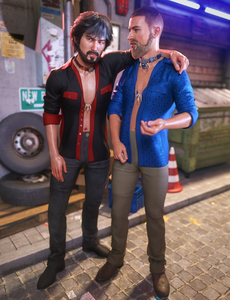Image shows two men, one with their arm around the other, and both wearing outfits from the Charming Rogue: Showtime texture set by Moonscape Graphics for Daz3D.
