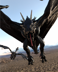 Image shows a dragon in mid-flight, using the HH Wyvern Textures by Moonscape Graphics.