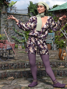 Image shows a woman wearing cosy leggings, playsuit and matching hat and scarf from dForce Playtime Chills Outfit for Genesis 8 Female(s) from Moonscape Graphics for Daz3D.