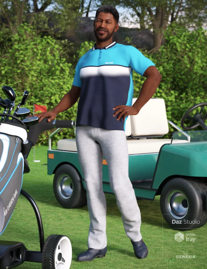 Image shows man standing on golf course, next to cart and golf bag, wearing the Casual Golf Outfit for Genesis 8 Male(s) for Daz3D, by Moonscape Graphics.