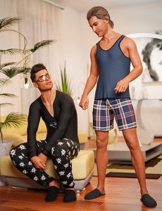 Image shows two men wearing the dForce Pajamas: Comfort texture set from Moonscape Graphics from Daz 3D.