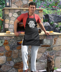 Image shows man wearing a typical BBQ apron and outfit and standing in front of a barbecue oven. He wears the dForce Backyard BBQ Outfit for Genesis 8 Male(s) from Moonscape Graphics for Daz3D.