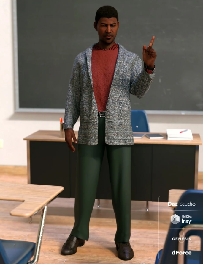Image shows a male lecturer, standing in front of a desk, wearing the dForce Hudson Outfit for Genesis 8 Male(s) from Daz3D by Moonscape Graphics.